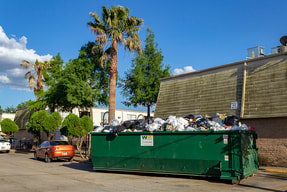 A green dumpster on the street.